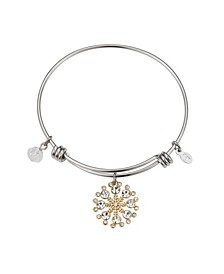Two-Tone Mickey Mouse Cubic Zirconia Snowflake Bangle Bracelet in Fine Silver Plate