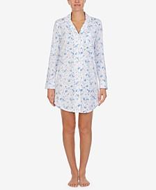 로렌 랄프로렌 잠옷 슬립 셔츠 Lauren Ralph Lauren Floral-Print Knit Sleep Shirt,Ivory Floral