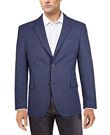 Men's Modern-Fit Blue/Burgundy Houndstooth Check Sport Coat