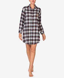 Brushed Twill Plaid Sleep Shirt