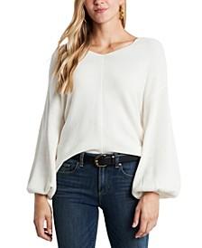 Rib-Knit Puff-Sleeve Sweater