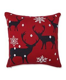 "Bucks in Snow Throw Pillow, 18"" L x 18"" W"