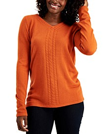V-Neck Cable-Trim Sweater, Created for Macy's