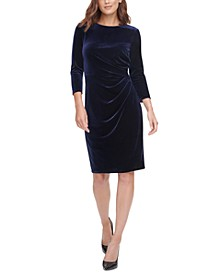 Velvet Ruched Sheath Dress
