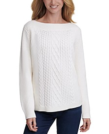 Cable-Knit Boat-Neck Sweater