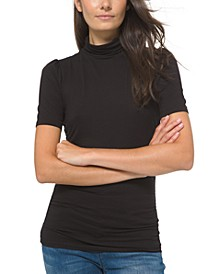 Plus Size Solid Short-Sleeve Turtleneck Top