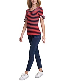 Striped Tie-Sleeve Cotton Top