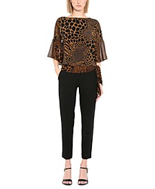 Plus Size Animal-Print Flutter-Sleeve Side-Tie Top