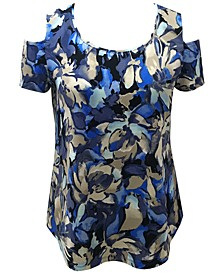Petite Printed Cold-Shoulder Scoop-Neck Top, Created for Macy's