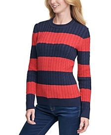 Cate Striped Cotton Cable-Knit Sweater