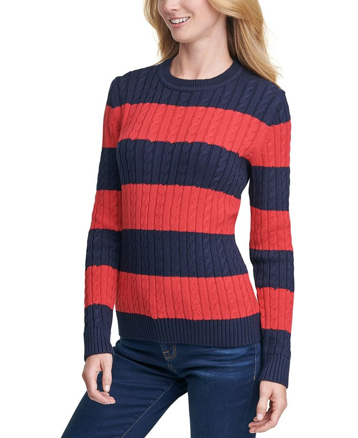 Tommy Hilfiger - Cate Striped Cotton Cable-Knit Sweater