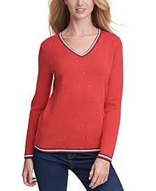 Ivy Embellished V-Neck Sweater