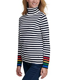 Striped Rainbow-Cuff Sweater