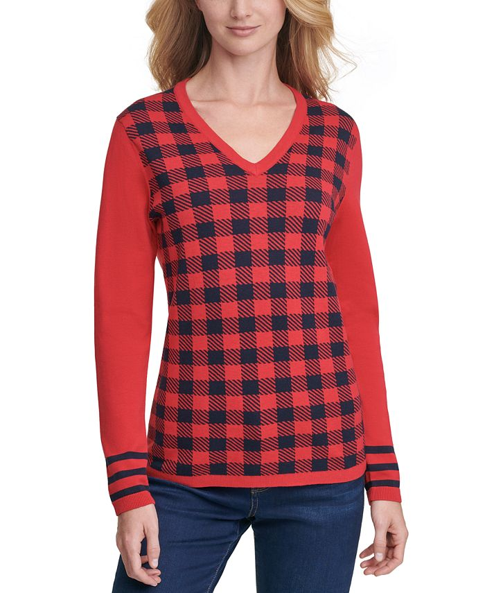 Tommy Hilfiger - Ivy Bluff Plaid-Front Cotton Sweater