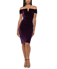 Velvet Off-The-Shoulder Sheath Dress