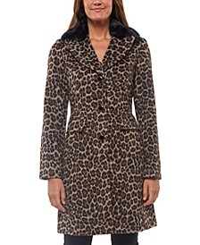 Leopard-Print Faux-Fur-Collar Coat