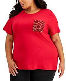 Plus Size Sequin-Pocket T-Shirt
