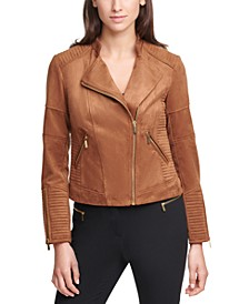 Faux-Suede Moto Zippered Jacket