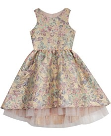 Toddler Girl Brocade Mesh Hem Dress