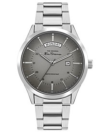Men's Silver-Tone Stainless Steel Classic Three Hand Watch, 43mm