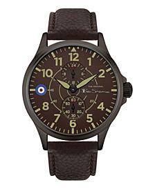 Men's Brown Genuine Leather Strap Multifunction Watch, 44mm