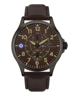 Men's Brown Genuine Leather Strap Multifunction Watch