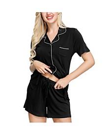 Women's Notch Pajama Top and Short Set