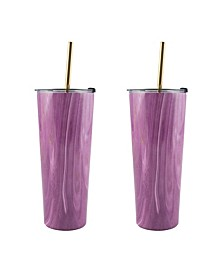 24 Oz Geode Decal Stainless Steel Tumblers with Straw, Pack of 2