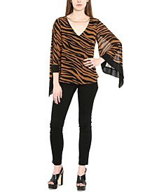 Plus Size Zebra-Print Chain-Embellished Sheer-Sleeve Blouse
