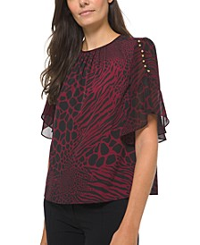 Plus Size Beaded Animal-Print Bell-Sleeve Blouse