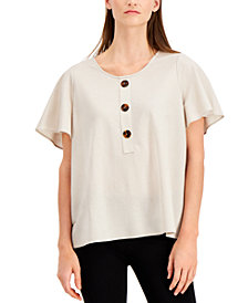Afani Flutter Sleeve Top, Created for Macy's