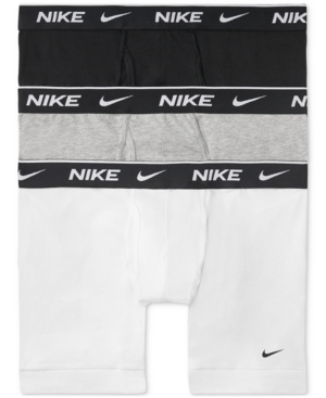 Nike Dri-fit Everyday Assorted 3-pack Performance Boxer Briefs In White/ Grey/ Black
