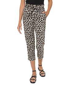 Plus Size Leopard-Print Paperbag Belted Cropped Pants