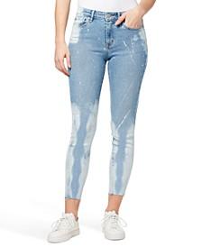 Mid-Rise Paint-Splatter Skinny Ankle Jeans