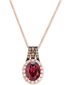 """Raspberry Rhodolite (2 ct. t.w.) and Diamond (3/8 ct. t.w.) 18"""" Pendant Necklace in 14k Rose Gold"""
