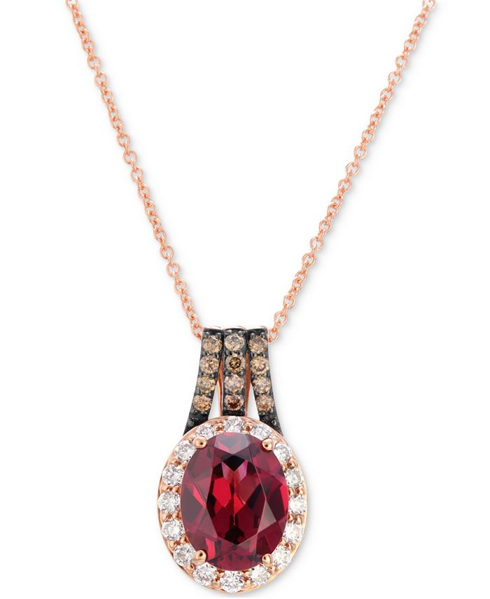 """Le Vian - Raspberry Rhodolite (2 ct. t.w.) and Diamond (3/8 ct. t.w.) 18"""" Pendant Necklace in 14k Rose Gold"""