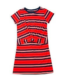 Little Girls Yarn Dye Twist Front Dress