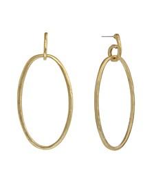 Gold-Tone Oval Drop Earrings