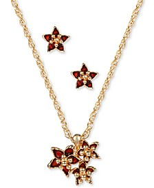 Gold-Tone Poinsettia Pendant Necklace & Stud Earrings Set, Created for Macy's