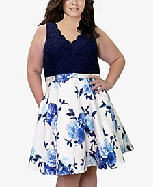 Trendy Plus Size Lace & Floral-Print Fit & Flare Dress