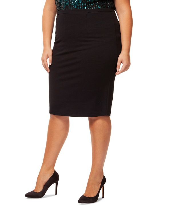 Black Tape Plus Size Zipper-Back Pencil Skirt