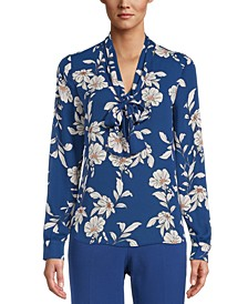 Floral-Print Tie-Neck Top, Created For Macy's