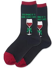 Women's Dreaming Of A Wine Xmas Crew Socks