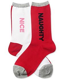 Women's Naughty And Nice Crew Socks