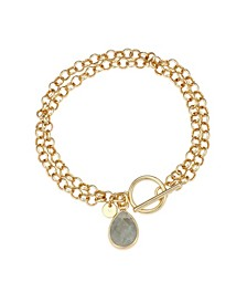 Fine Silver Plated Genuine Labradorite Toggle Chain Link Bracelet in Gold