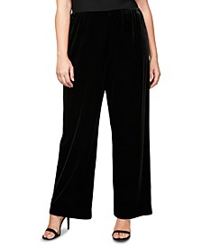 Plus Size Velvet Pull-On Pants
