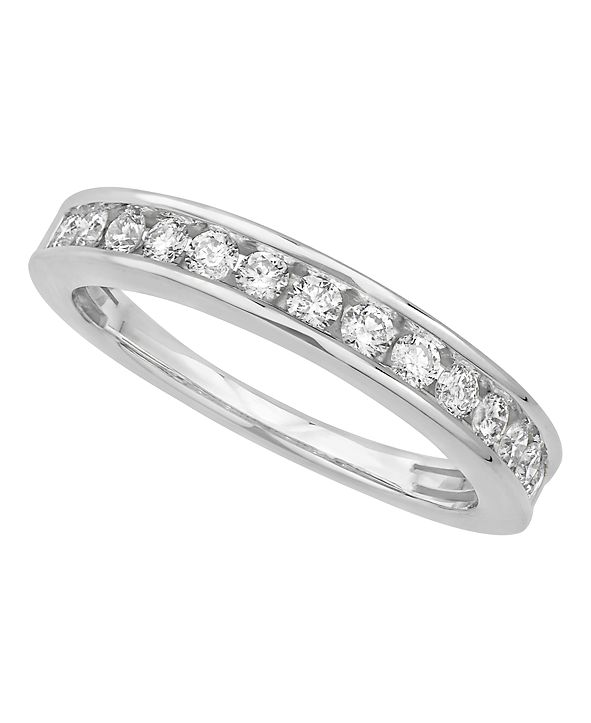 Macy's Certified Diamond Channel Band 1/2 ct. t.w. in 14k White or Yellow Gold