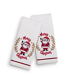 "Holiday Santa 2-Pc. 11"" x 18"" Fingertip Towel Set, Created for Macy's"