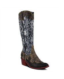Women's Rodeo Tall Western Style Snake Print Narrow Calf Boots
