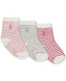 Ralph Lauren Infant Girls St. James Stripe Crew Socks 3-Pair